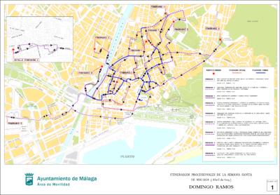Itinerarios de las procesiones para el Domingo de Ramos 2019