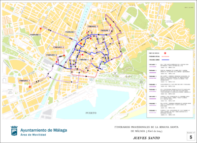 Itinerarios de procesiones del Jueves Santo en la Semana Santa de Málaga 2019