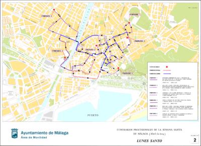 Procesiones del Lunes Santo de la Semana Santa de Málaga 2019