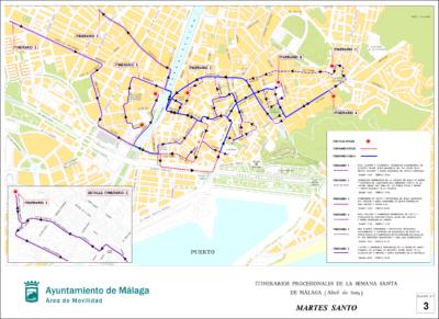 Itinerarios del Martes Santo 2019 de Málaga