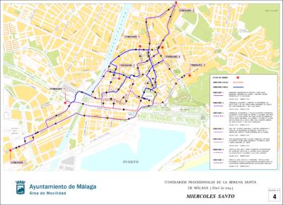 Miércoles Santo. Itinerarios de procesiones de Málaga 2019