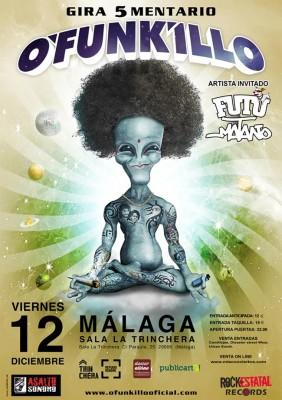 Cartel del concierto O'Funk'illo sala Trinchera Málaga 2014
