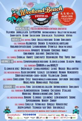 Cartel final del Weekend Beach Festival 2015 de Torre del Mar