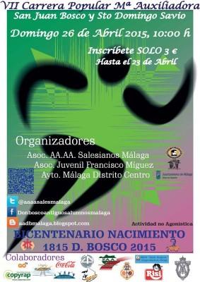 Cartel Carrera Popular María Auxiliadora 2015 Málaga Salesianos