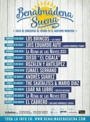 Cartel Benalmádena Suena 2015. Conciertos de verano