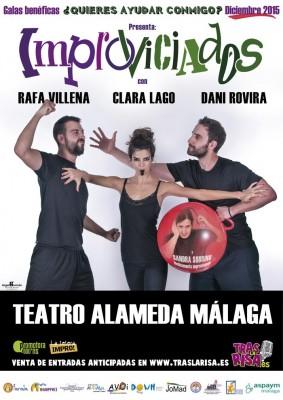 Cartel Improviciados Málaga 2015. Dani Rovira, Clara Lago y Rafa Villena