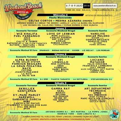 Cartel provisional Weekend Beach Festival 2016