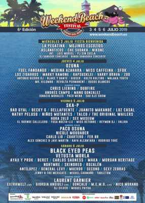 Cartel de conciertos del Weekend Beach Festival 2019