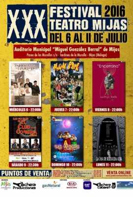 cartel del XXX Festival de Teatro de Mijas 2016