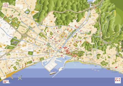 Plano de ubicación de belenes en Málaga 2017-2018
