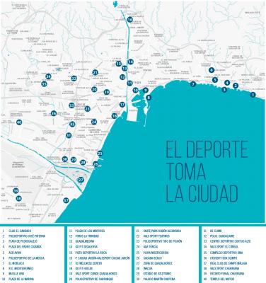 Plano ubicaciones actividades deportivas de la Fiesta del Deporte de Málaga 2017