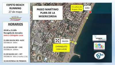 Recorrido Espeto Beach Running 2017. Playa Misericordia