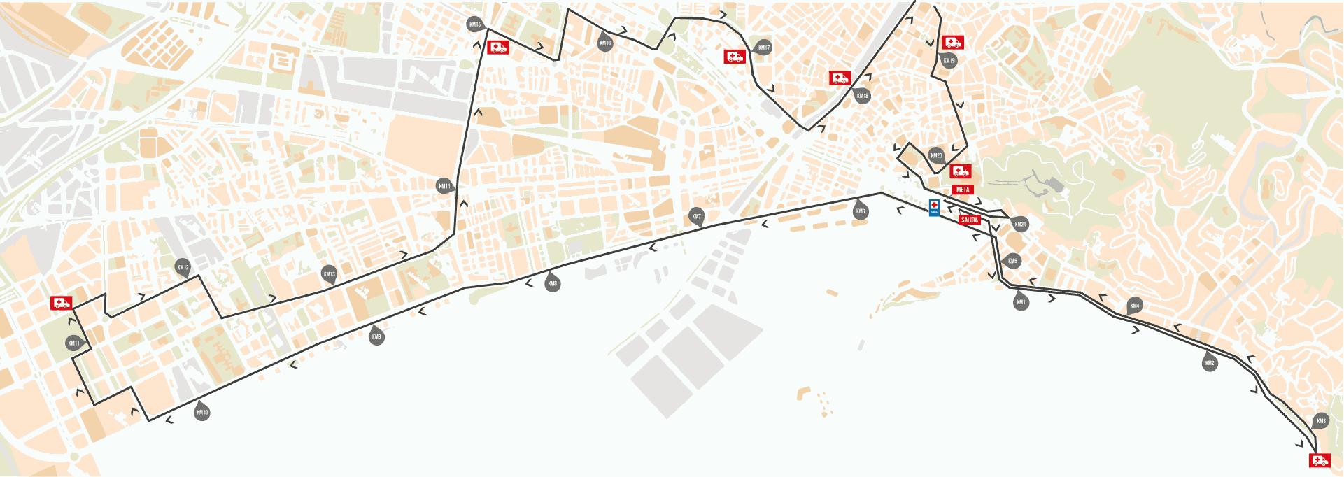 Recorrido de la Media Maratón de Málaga 2020