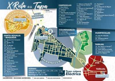 Plano con establecimientos participantes en la Ruta de la Tapa de Campanillas 2019