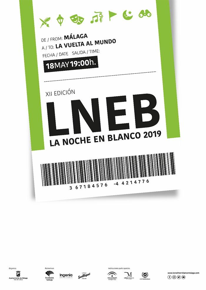 Cartel de la Noche en Blanco Málaga 2019