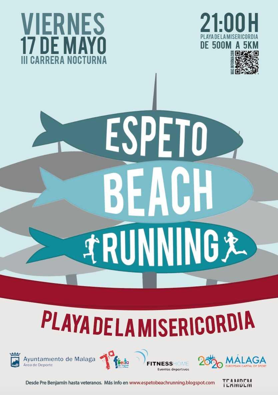 Cartel de la carrera nocturna Espeto Beach Running Málaga 2019