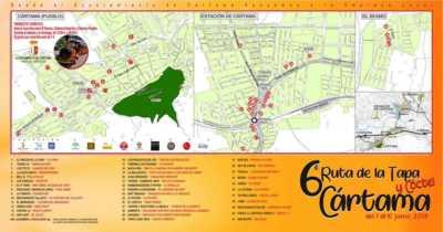 Plano de la Ruta de la Tapa y el Cóctel de Cártama 2018