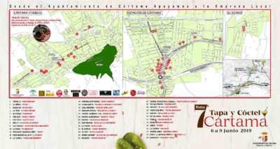 Plano con los establecimientos de la Ruta de la Tapa y el Cóctel de Cártama 2019