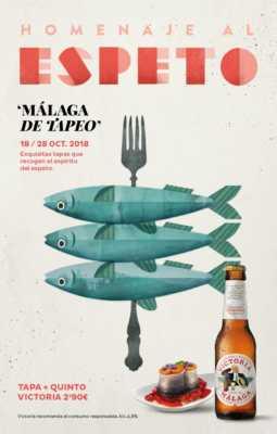 Cartel del Málaga de Tapeo 2018. Homenaje al espeto