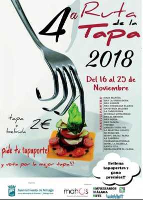 Cartel de la Ruta de la Tapa Málaga-Este 2018. El Palo y Pedregalejo