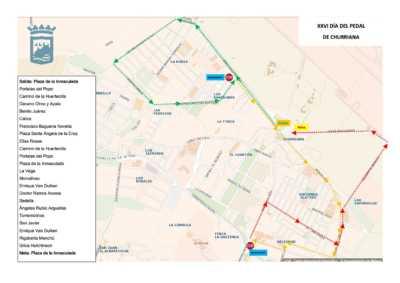 Plano del recorrdio del Día del Pedal de Churriana 2019