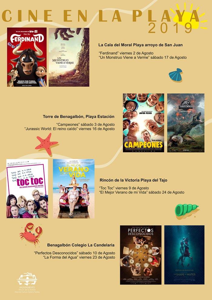 Cine en la Playa de Rincón de la Victoria, Cala del Moral, Benagalbón y Torre 2019