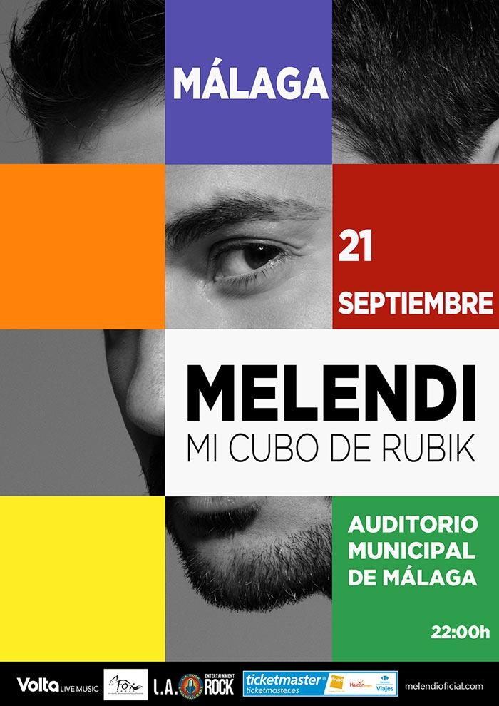 Melendi en concierto en Málaga. Gira Cubo de Rubik 2019